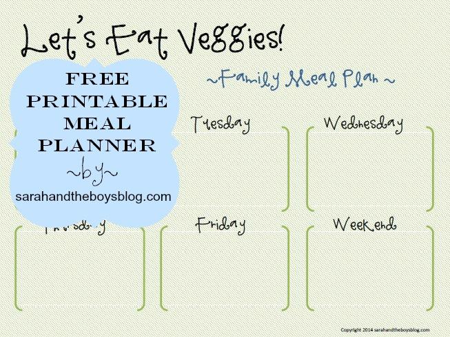 free printable meal planner by sarahandtheboysblog.com