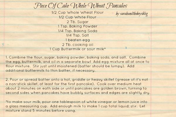 Piece of Cake Whole Wheat Pancake Recipe // sarahandtheboysblog
